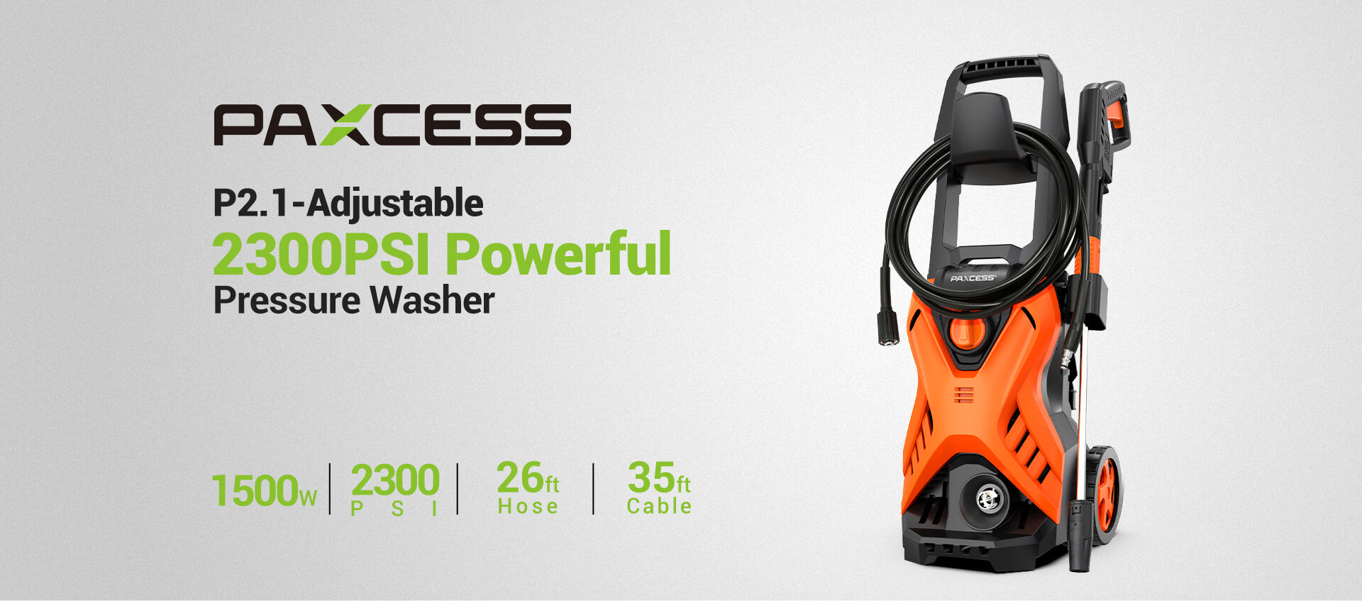 P2.1 Adjustable 2300PSI 1.6GPM Electric Pressure Washer (1)