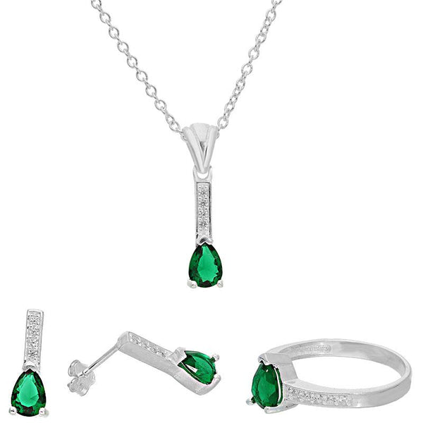 Italian Silver 925 Teardrop Solitaire Pendant Set (Necklace, Earrings and Ring) - FKJNKLST2063