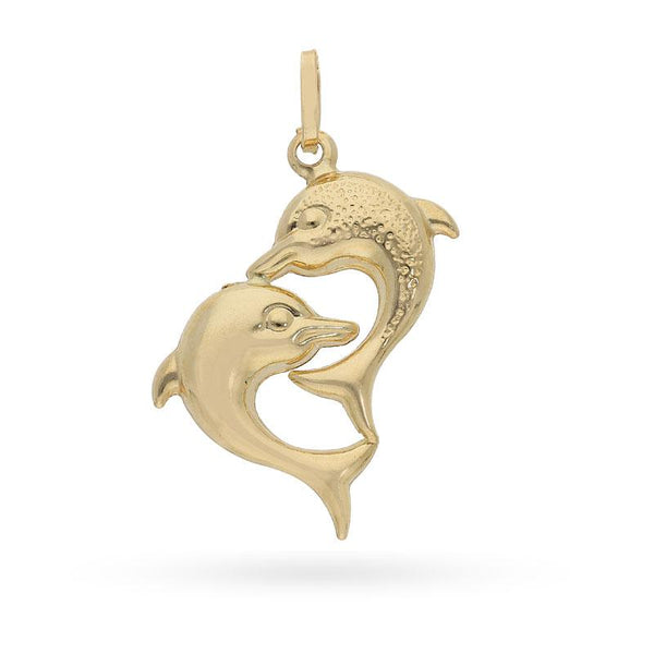 Gold Twin Dolphin Pendant 18KT - FKJPND1704