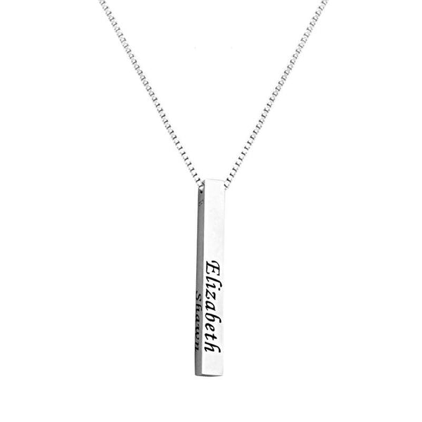 Silver 925 Name Engraved Bar Necklace - FKJNKL1927