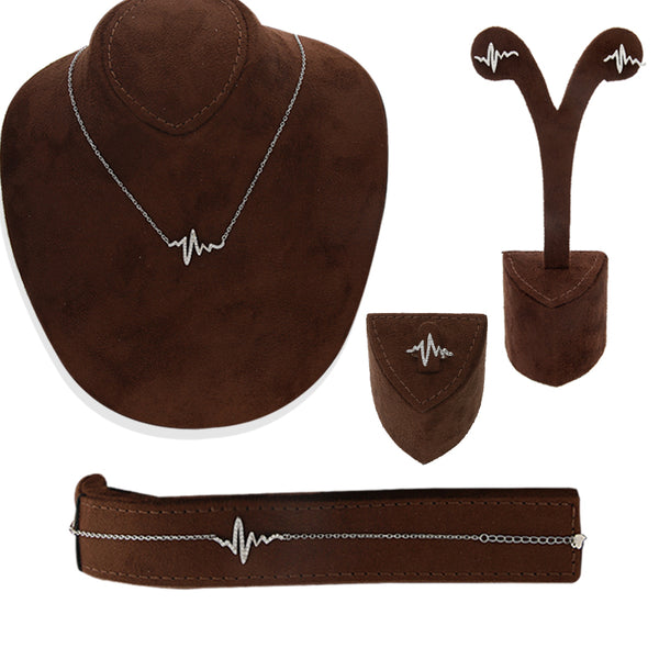 Italian Silver 925 Pendant Set (Necklace, Earrings, Ring and Bracelet) - FKJNKLSTSL2173