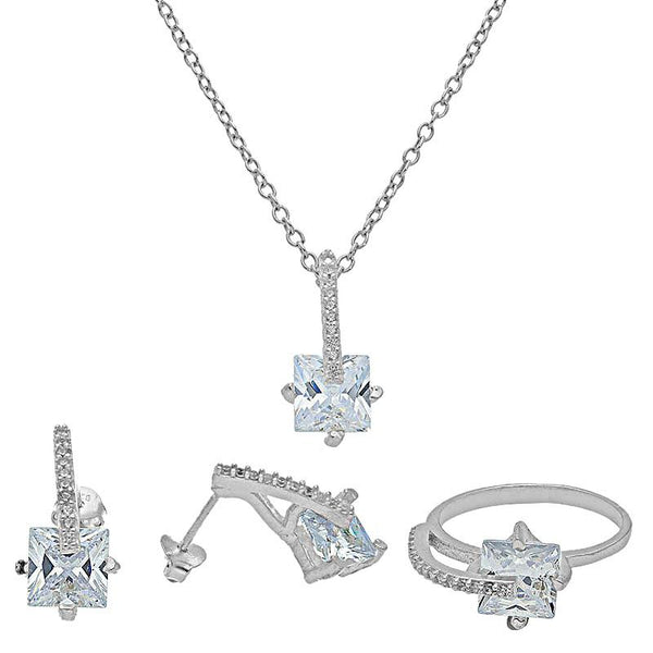 Italian Silver 925 Princess Cut Solitaire Pendant Set (Necklace, Earrings and Ring) - FKJNKLST2020