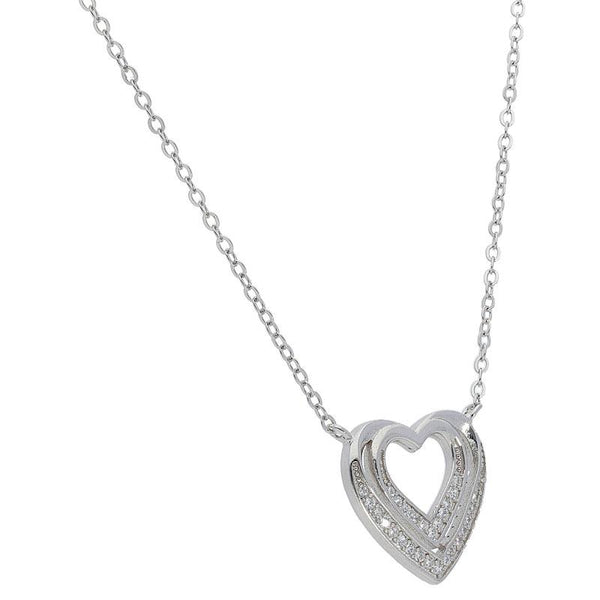 Italian Silver 925 Twin Heart Necklace - FKJNKL1832