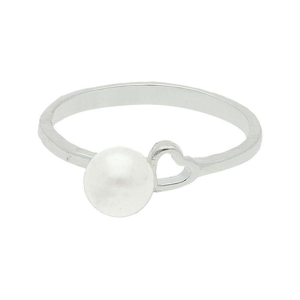 Italian Silver 925 Pearl and Heart Ring - FKJRN2086