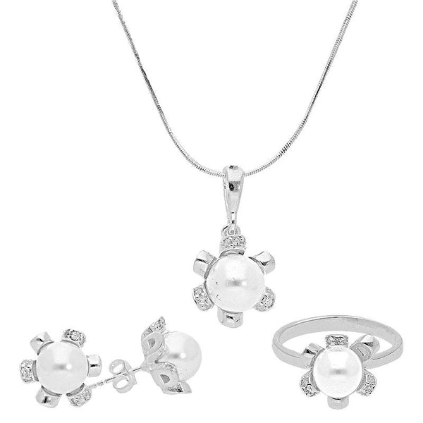 Italian Silver 925 Pearl Pendant Set (Necklace, Earrings and Ring) - FKJNKLST2017