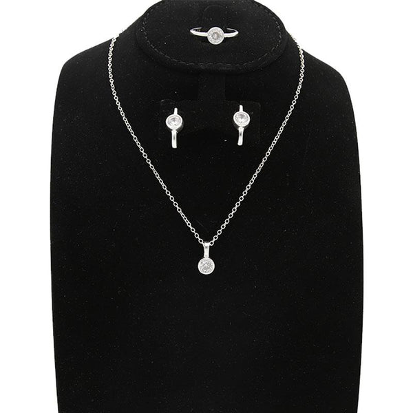 Italian Silver 925 Pendant Set (Necklace, Earrings and Ring) - FKJNKLST2008