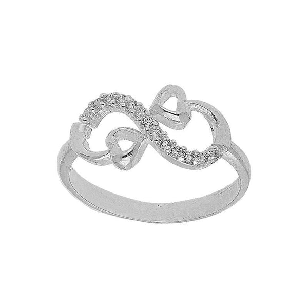 Italian Silver 925 Infinity with Little Hearts Pendant Set (Necklace, Earrings and Ring) - FKJNKLST2023