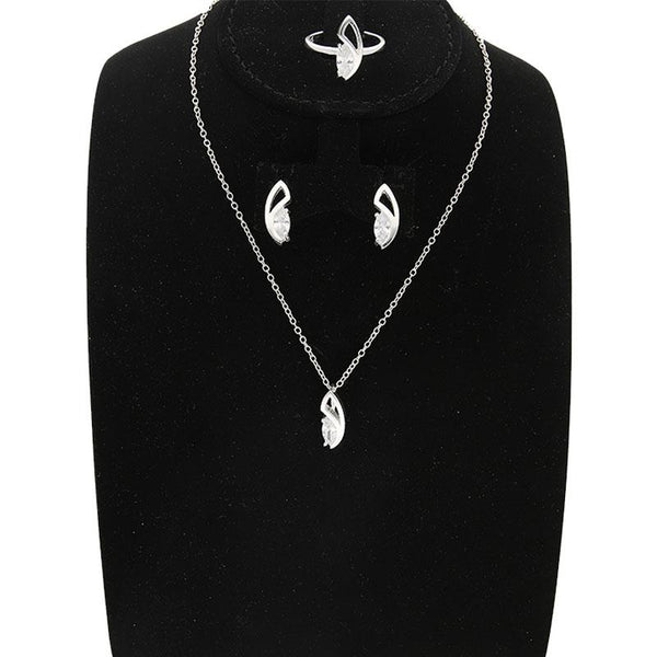 Italian Silver 925 Pear Pendant Set (Necklace, Earrings and Ring) - FKJNKLST2013