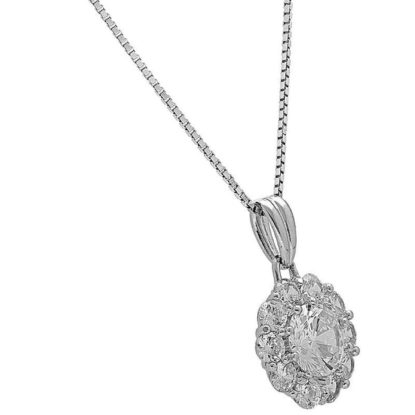 Italian Silver 925 Round Solitaire Necklace - FKJNKL1973