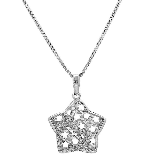 Italian Silver 925 Star with Heart Necklace - FKJNKL1974