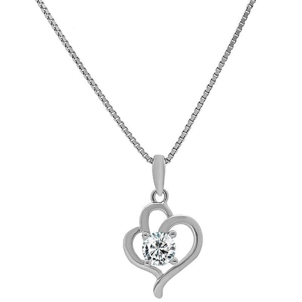 Italian Silver 925 Twisted Heart with Solitaire Necklace - FKJNKL1979