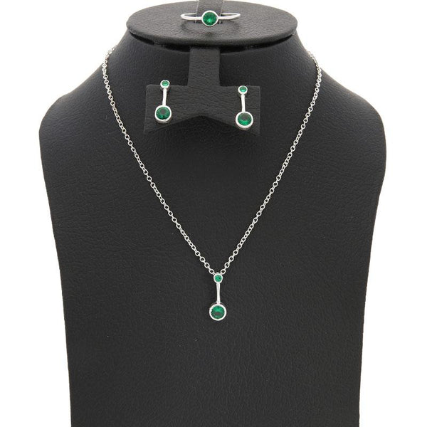 Italian Silver 925 Solitaire Pendant Set (Necklace, Earrings and Ring) - FKJNKLST2067
