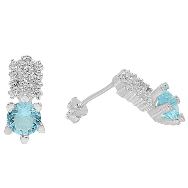 Italian Silver 925 Aquamarine Solitaire Pendant Set (Necklace, Earrings and Ring) - FKJNKLSTSL2106