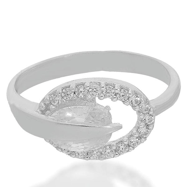 Italian Silver 925 Oval Shaped Solitaire Ring - FKJRNSL2168