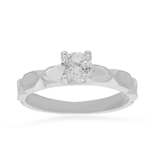 Italian Silver 925 Round Shaped Solitaire Ring - FKJRNSL2169