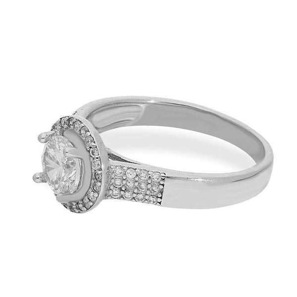 Italian Silver 925 Round Shaped Solitaire Ring - FKJRNSL2177