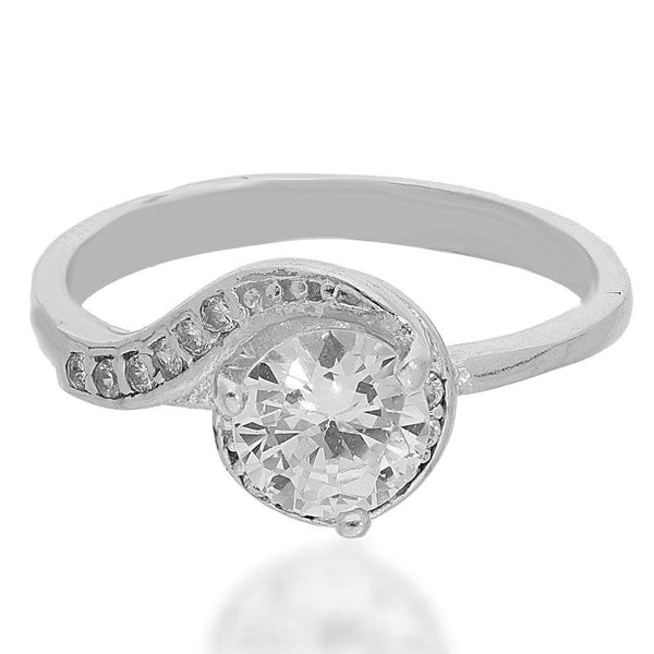 Italian Silver 925 Round Shaped Solitaire Ring - FKJRNSL2181