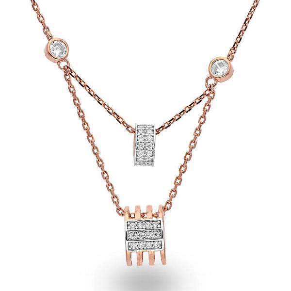 Italian Silver 925 Rose Gold Plated Necklace - FKJNKLSL2054