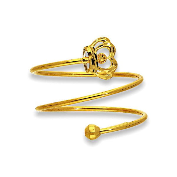 Gold Spiral Ring with Crown in 18KT - FKJRN18K2176