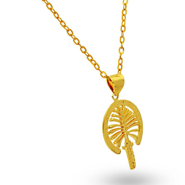 Gold Necklace (Chain with Palm Tree Pendant) 18KT - FKJNKL18K2044