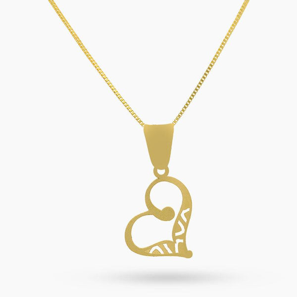 Gold Necklace (Chain with Twisted Heart Pendant) 18KT - FKJNKL18K2048