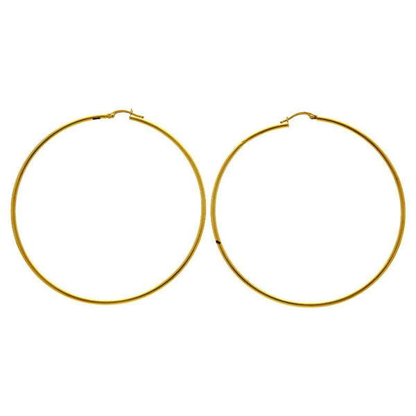 Gold Long Hoop Earrings 18KT - FKJERN18K1809