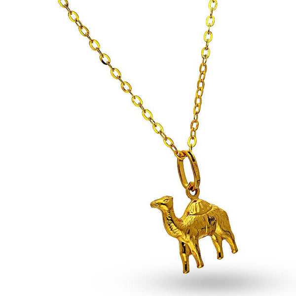 Gold Camel Shaped Pendant Set (Necklace and Earrings ) 18KT - FKJNKLST18K2144