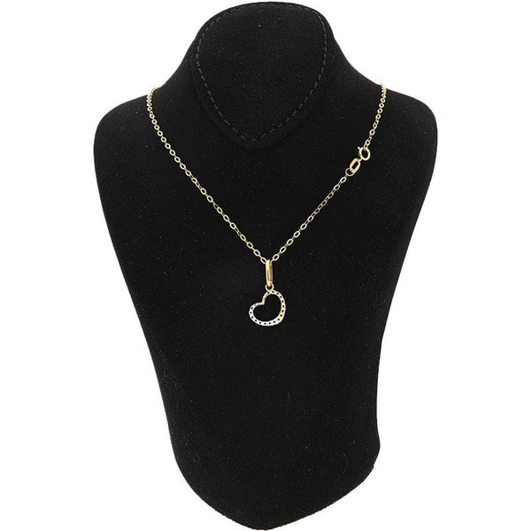 Gold Necklace (Chain with Dual Tone Heart Pendant) 18KT - FKJNKL18K2075