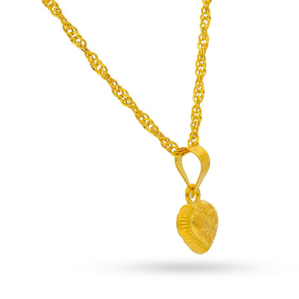 Gold Heart Pendant Set (Necklace, Earrings and Ring) 18KT -  FKJNKLST1688