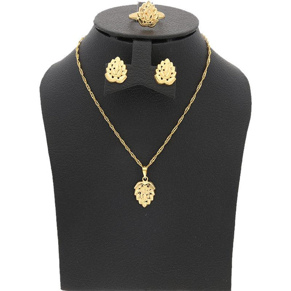 Gold Pendant Set (Necklace, Earrings and Ring) 18KT - FKJNKLST1681