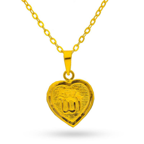 Gold Necklace (Chain with Heart Allah Pendant) 18KT - FKJNKL1470
