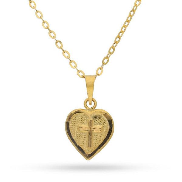 Gold Necklace (Chain with Cross Heart Pendant) 18KT - FKJNKL18K2076
