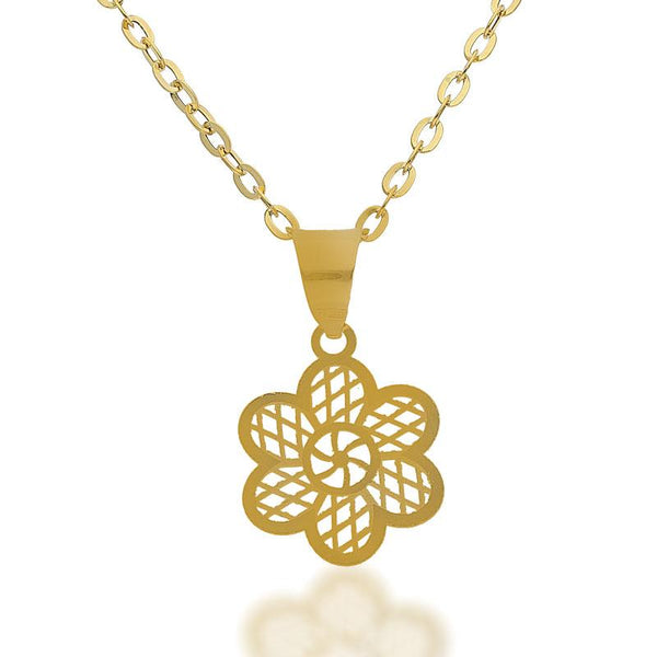 Gold Necklace (Chain with Flower Pendant) 18KT - FKJNKL18K2079