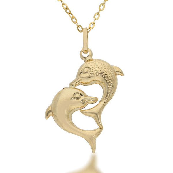 Gold Necklace (Chain with Twin Dolphin Pendant) 18KT - FKJNKL1704