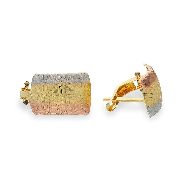 Tri-Gold Clip Earrings 18KT - FKJERN18K1806