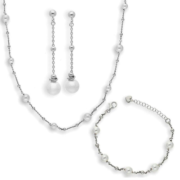 Italian Silver 925 Pendant Set (Necklace, Earrings and Bracelet) - FKJNKLSTSL2166
