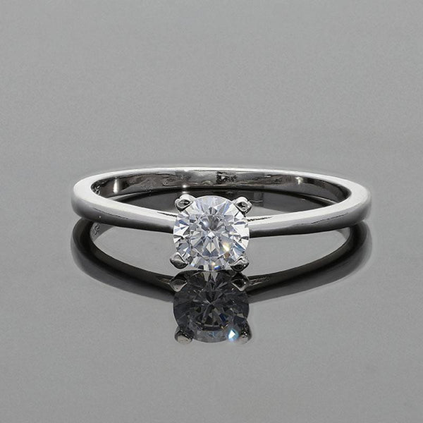 Italian Silver 925 Round Shaped Solitaire Ring - FKJRNSL2277