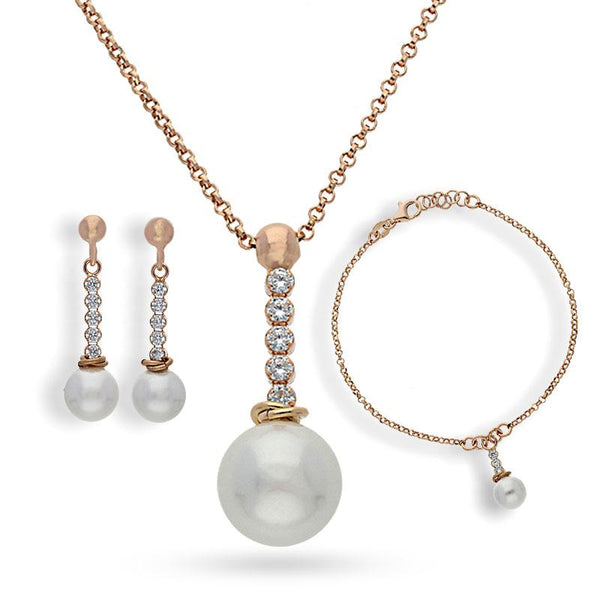 Italian Silver 925 Rose Gold Plated Pearl Pendant Set (Necklace, Earrings and Bracelet) - FKJNKLSTSL2164