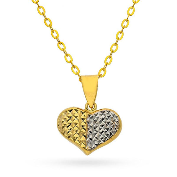 Gold Dual Tone Heart Pendant Set (Necklace, Earrings and Ring) 18KT - FKJNKLST18K2155
