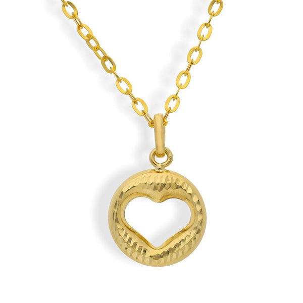 Gold Round Shaped Heart Pendant Set (Necklace, Earrings and Ring) 18KT - FKJNKLST18K2161