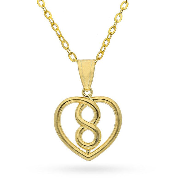 Gold Infinity Heart Pendant Set (Necklace, Earrings and Ring) 18KT - FKJNKLST18K2154