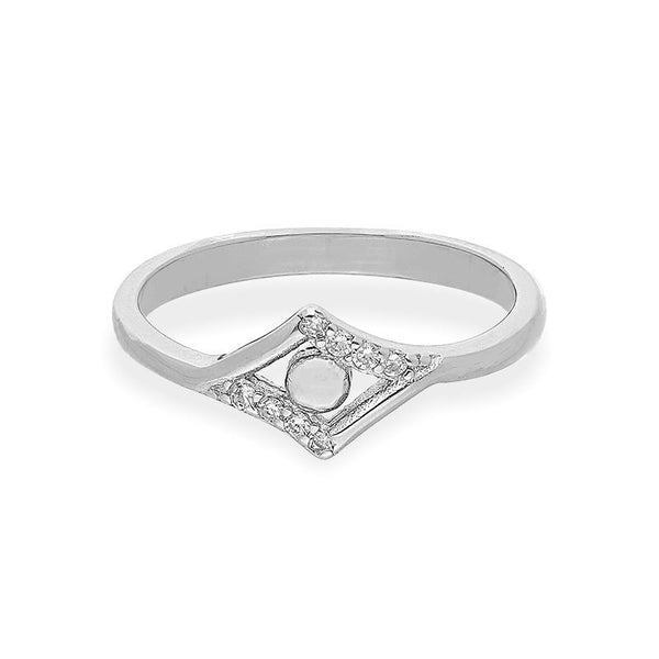 Italian Silver 925 Rombus Shaped Ring - FKJRNSL2290