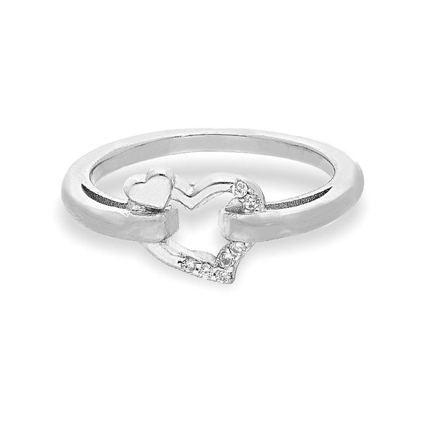 Italian Silver 925 Twisted Heart Ring - FKJRNSL2287