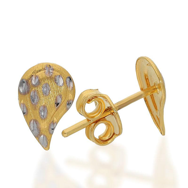 Gold Pear Shaped Stud Earrings 22KT - FKJERN22K1981