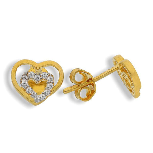 Dual Tone Gold Twin Hearts Shaped Stud Earrings 22KT - FKJERN22K2036