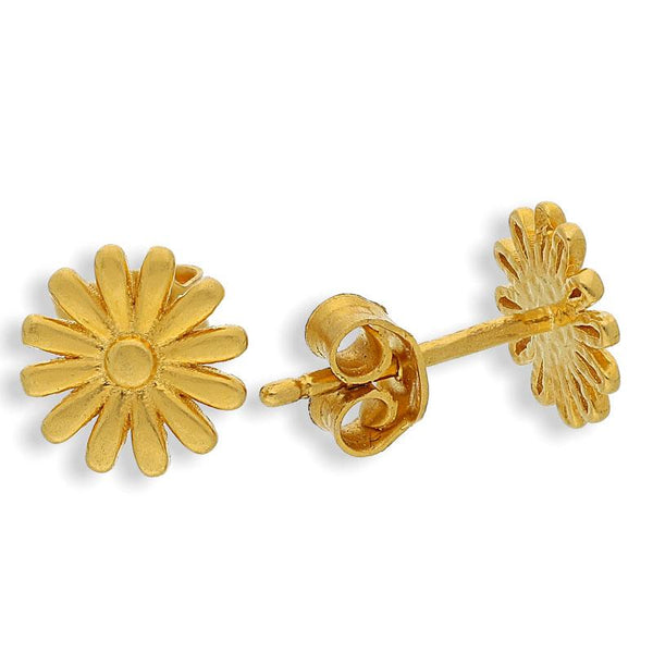 Gold Flower Shaped Stud Earrings 22KT - FKJERN22K2042