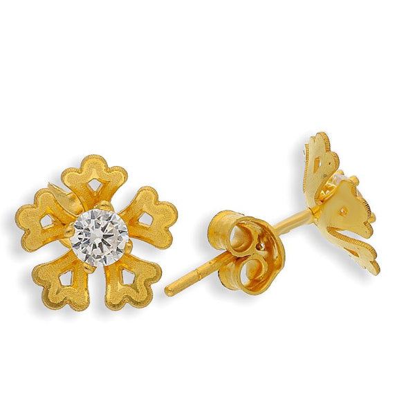 Gold Flower Shaped Round solitaire Stud Earrings 22KT - FKJERN22K2043