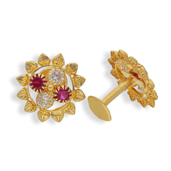Gold Flower Shaped Earrings 22KT - FKJERN22K2081