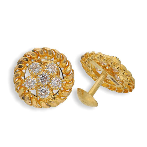Gold Round Shaped Earrings 22KT - FKJERN22K2066