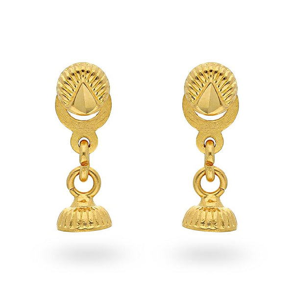 Gold Drop Earrings 22KT - FKJERN22K2093